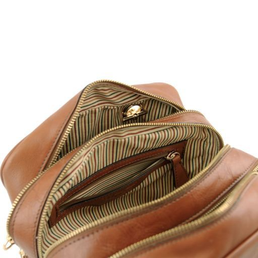 TL NeoClassic Leather handbag with chain handles and tassel details Dark Brown TL141266