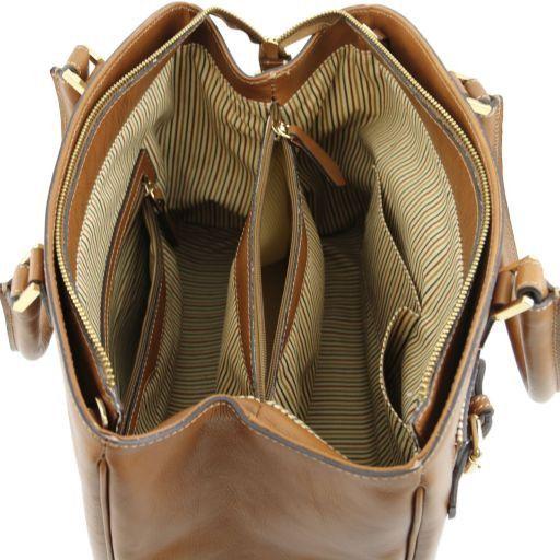 TL Bag Borsa a mano in pelle con tasca frontale Testa di Moro TL141280