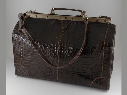 Madrid Croco look leather travel bag - Large size Dark Brown TL140752