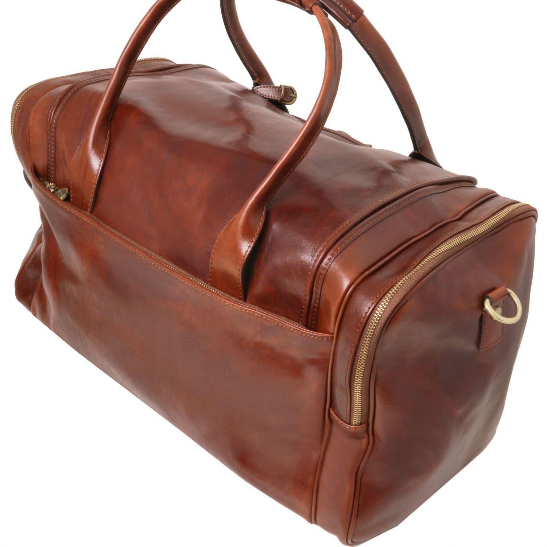 Tuscany Leather - TL Voyager - Sac de voyage en cuir avec poches aux côtés - Marron foncé ixMsqbdPn