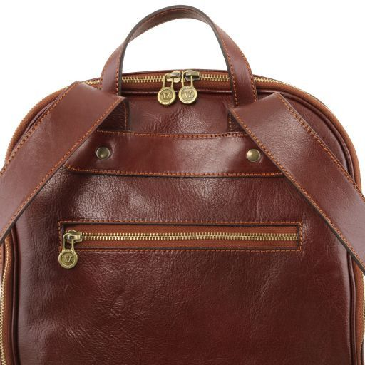 Osaka Leather laptop backpack Dark Brown TL141308