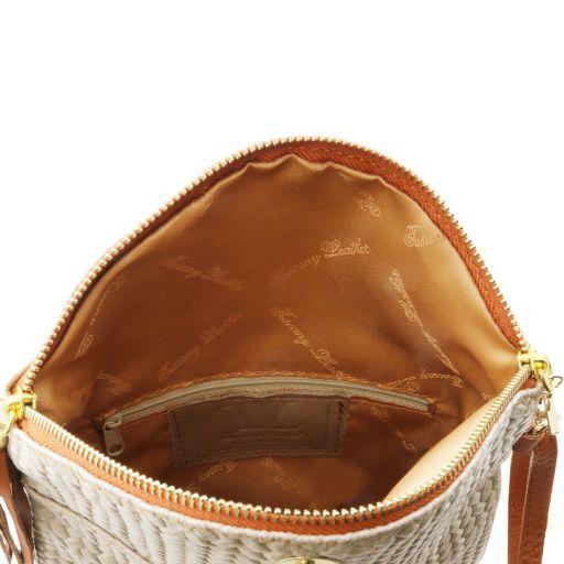TL Bag Tracollina in pelle stampa spigata e nappa Beige TL141310