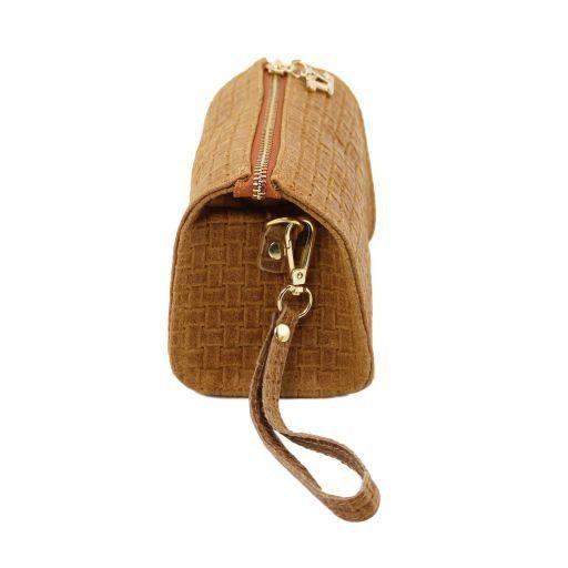 TL Bag Clutch aus geprägtem Leder mit Schulterkette Schwarz TL141312