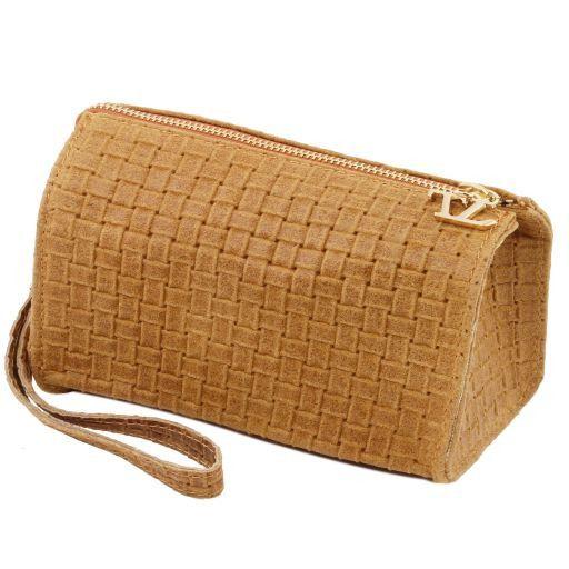 TL Bag Pochette in pelle stampa intrecciata e tracolla a catena Cognac TL141312