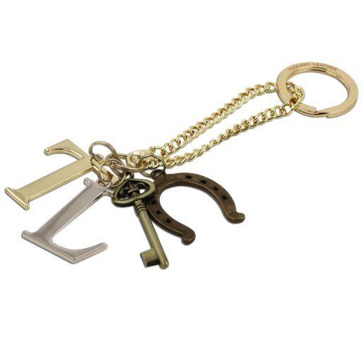 TL KeyLuck Borsa a mano media in pelle stampa spigata Beige TL141313