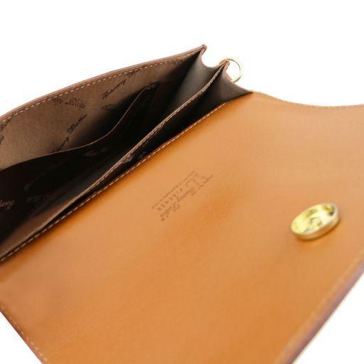 TL Bag Pochette in pelle Saffiano con tracolla sganciabile Blu scuro TL141317