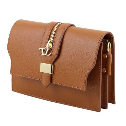 TL Bag Pochette in pelle Saffiano con tracolla sganciabile Beige TL141317