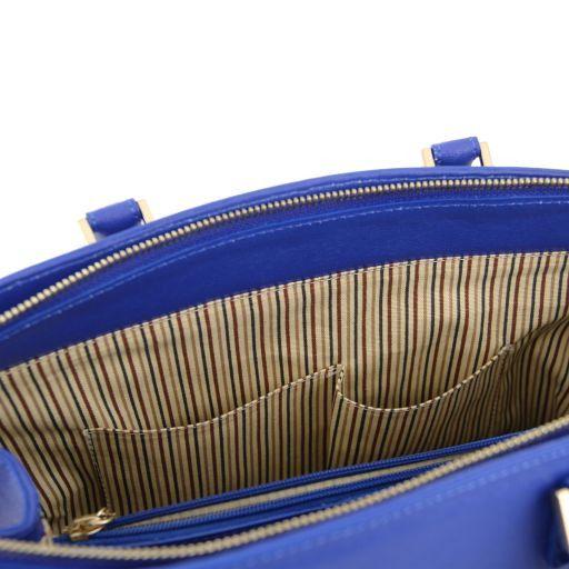 TL KeyLuck Borsa a mano con tasca frontale in pelle Saffiano Blu TL141323