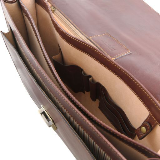 Roma Leather briefcase 3 compartments Brown TL141349
