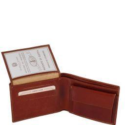 Elégant portefeuille en cuir pour homme avec 3 volets et porte monnaie Marron foncé TL140763