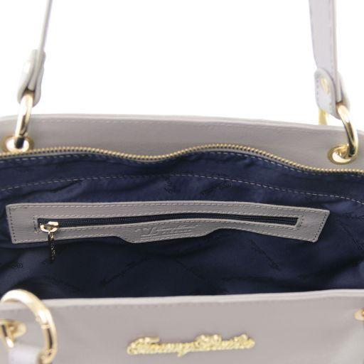 TL Bag Borsa shopper in pelle Saffiano con doppi manici Talpa scuro TL141366