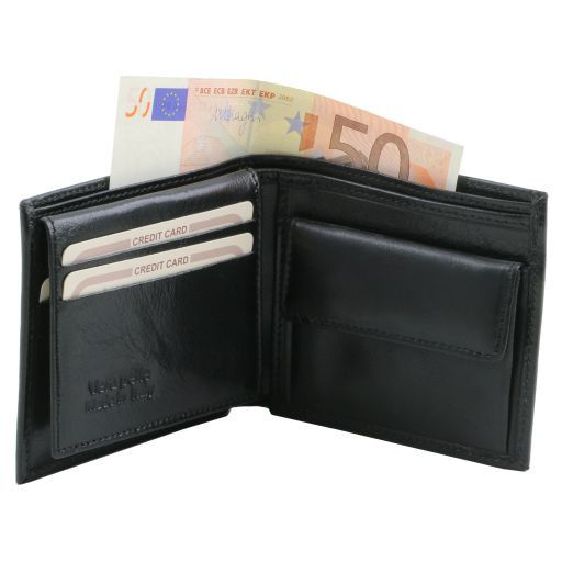 Exclusive 3 fold leather wallet for men with coin pocket Black TL141377
