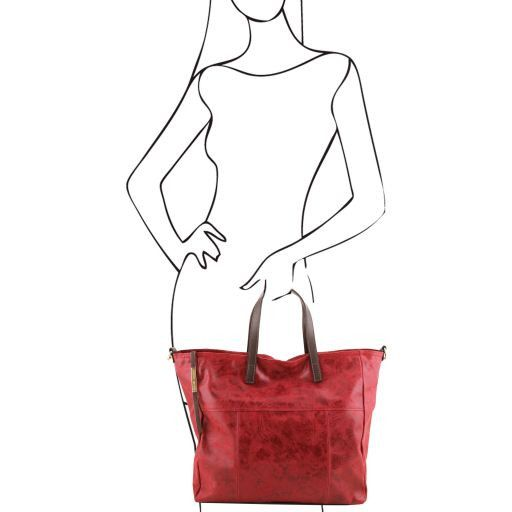 TL Bag Borsa shopping in pelle effetto invecchiato Verde TL141409
