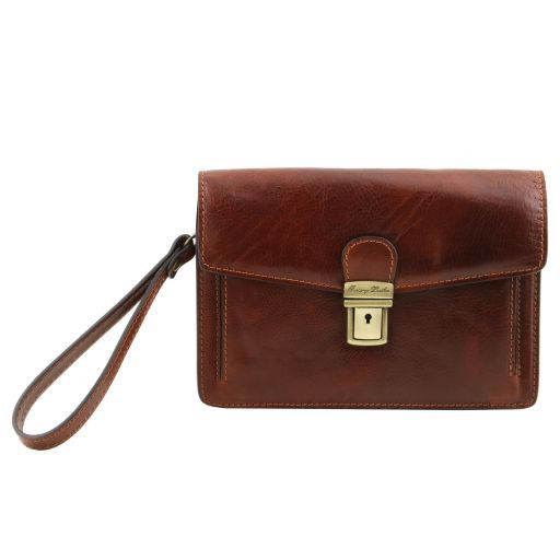Tommy Exclusive leather handy wrist bag for man Темно-коричневый TL141442