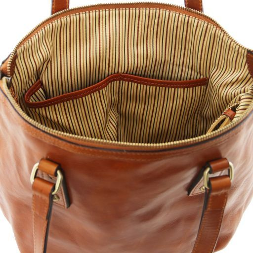 Olga Borsa shopping in pelle - Misura Grande Miele TL141484