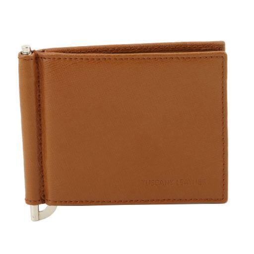 Esclusivo portacarte di credito in pelle Saffiano con molletta fermasoldi Cognac TL141500