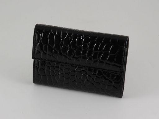 Esclusivo portafogli in pelle stampa cocco da donna Nero TL140792