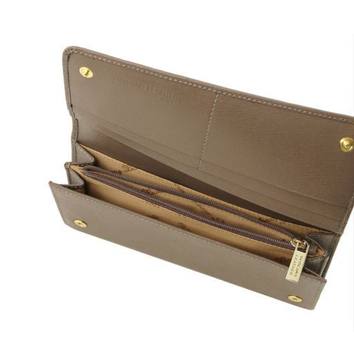 Esclusivo portafogli donna in pelle Saffiano a 2 scomparti Cognac TL141504