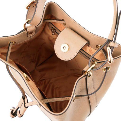 Minerva Borsa secchiello da donna in pelle Saffiano Cognac TL141549