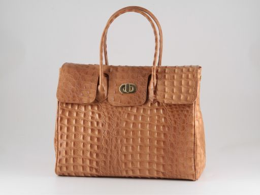 Erika Lady bag in croco look leather - Large size Cognac TL140847