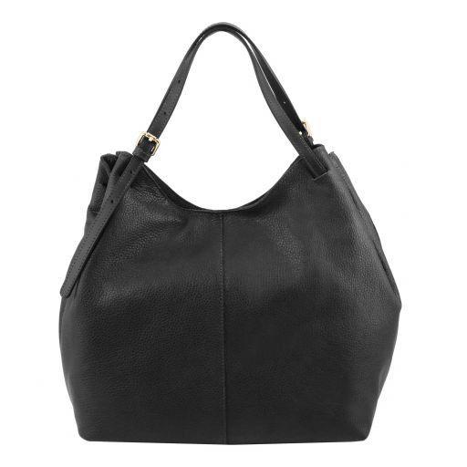 Cinzia Bolso shopping en piel suave Negro TL141515