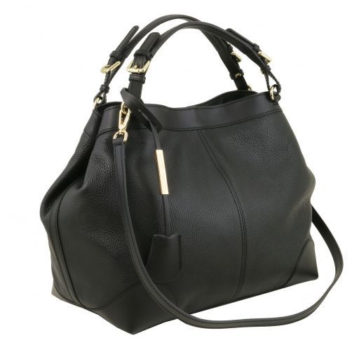 Ambrosia Bolso shopping en piel suave con bandolera Negro TL141516