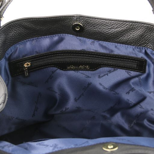 Ambrosia Soft leather shopping bag with shoulder strap Black TL141516