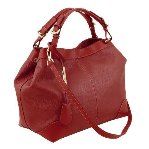 Ambrosia Bolso shopping en piel suave con bandolera Rojo TL141516