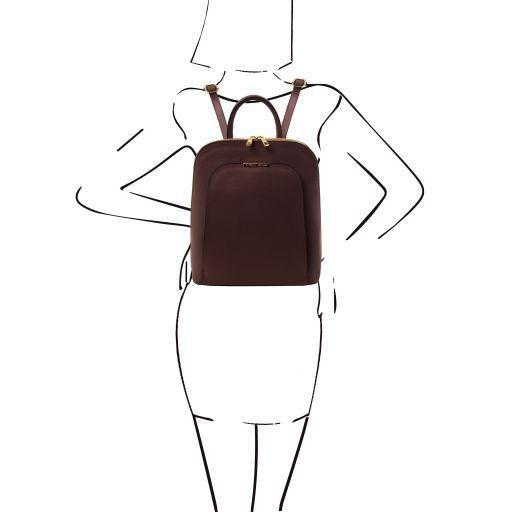 TL Bag Zaino donna in pelle Saffiano Testa di Moro TL141631