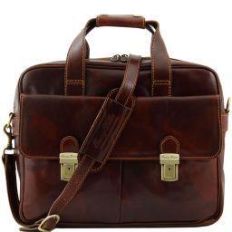 Reggio Emilia Elégante serviette en cuir pour portable Marron TL140889
