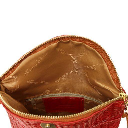 TL Bag Tracollina in pelle stampa spigata e nappa Rosso TL141310