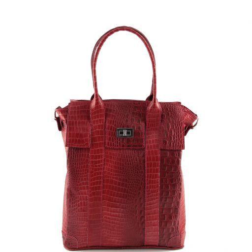 Eva Borsa a spalla in pelle stampa cocco - Misura grande Rosso TL140922