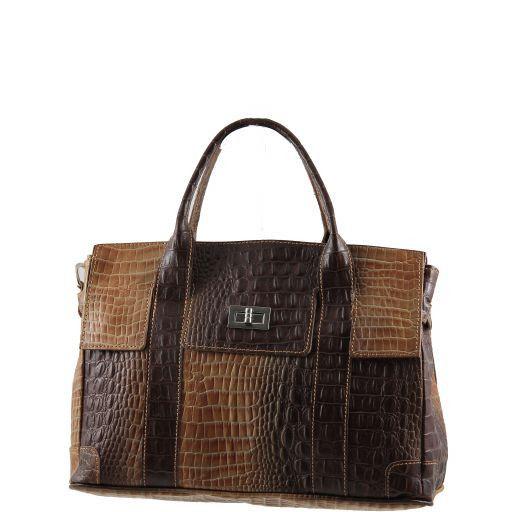 Eva Handtasche aus Leder mit Krokoprägung - Klein Cognac TL140924