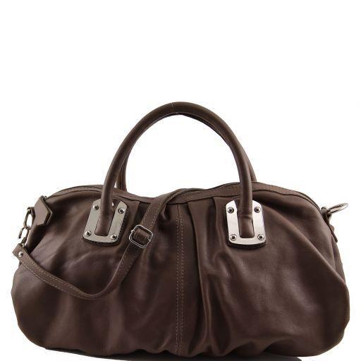 Nora Damenhandtasche aus Leder Dunkel Taupe TL140934