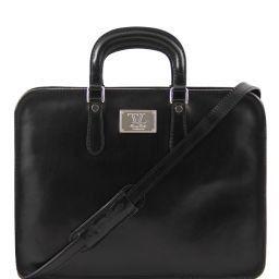 Alba Женский кожаный портфель с одним оделением Черный TL140961