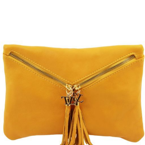 Audrey Leather clutch Yellow TL140988