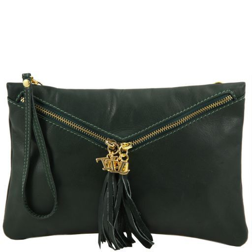 Audrey Leather clutch Forest Green TL140988