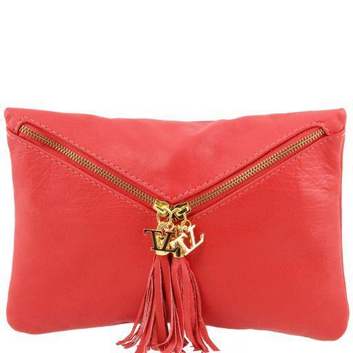 Audrey Bolso noche en piel Rojo Coral TL140988