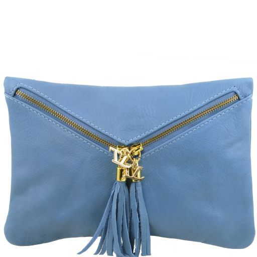 Audrey Leather clutch Light Blue TL140988