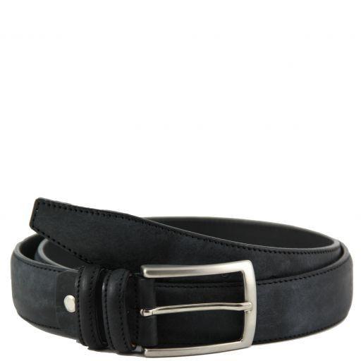 Cintura in pelle effetto invecchiato Nero TL141014