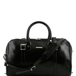 Berlin Travel leather duffle bag - Small size Black TL1014