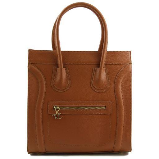 TL Bag Borsa a mano media pelle martellata Cognac TL141090