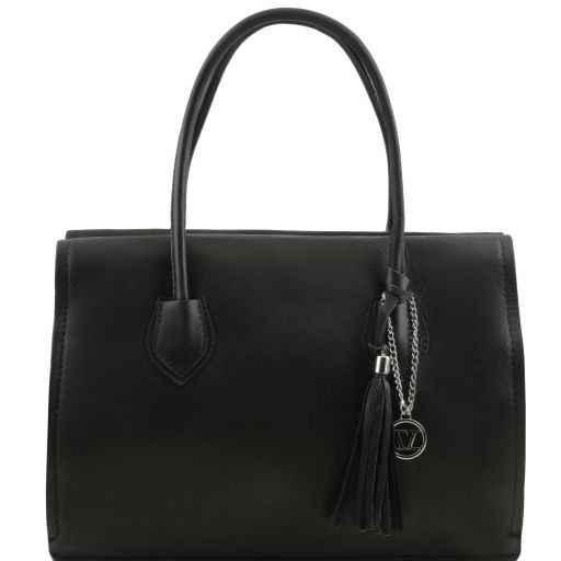 TL Bag Bolso en piel suave con borla y bandolera Negro TL141091