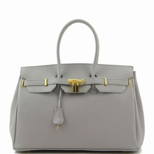 TL KeyLuck Кожаная сумка с золотистой фурнитурой Светло-серый TL141092