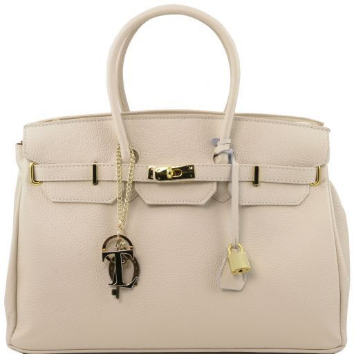 TL KeyLuck Кожаная сумка с золотистой фурнитурой Бежевый TL141092