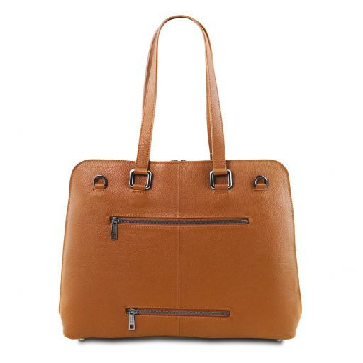 Lucca TL SMART business bag in soft leather for women Cognac TL141630