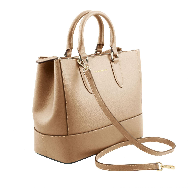 TL Bag Borsa a Mano in Pelle Saffiano Senape TL141638
