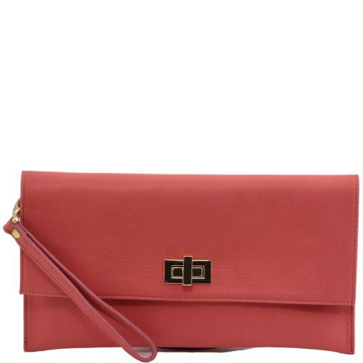 TL Bag Clutch aus Leder Koralle TL141109