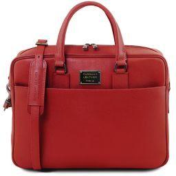 Urbino Cartella porta computer in pelle Saffiano con tasca frontale Rosso TL141627