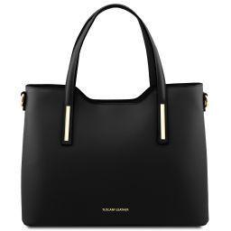 Olimpia Shopping Tasche aus Leder Schwarz TL141412